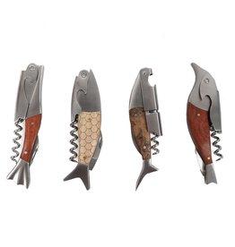 Willow Street/DEI Wooden Fish 2-Step Wine Opener/Corkscrew, single