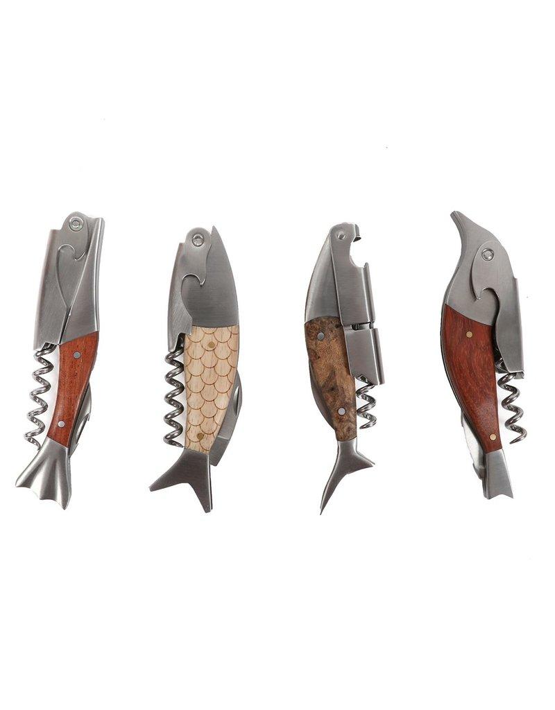 Wooden Fish 2-Step Wine Opener/Corkscrew, single