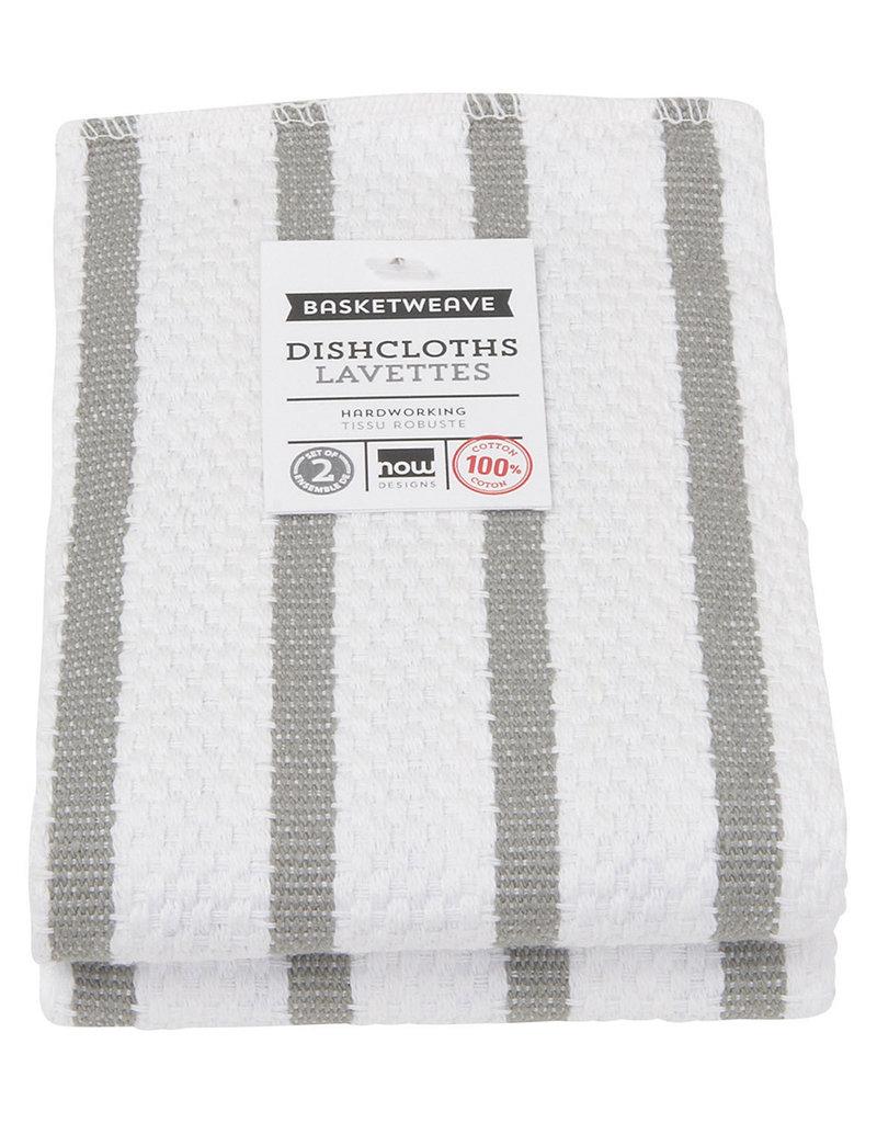 Now Designs Basketweave Kitchen Towel, London Grey