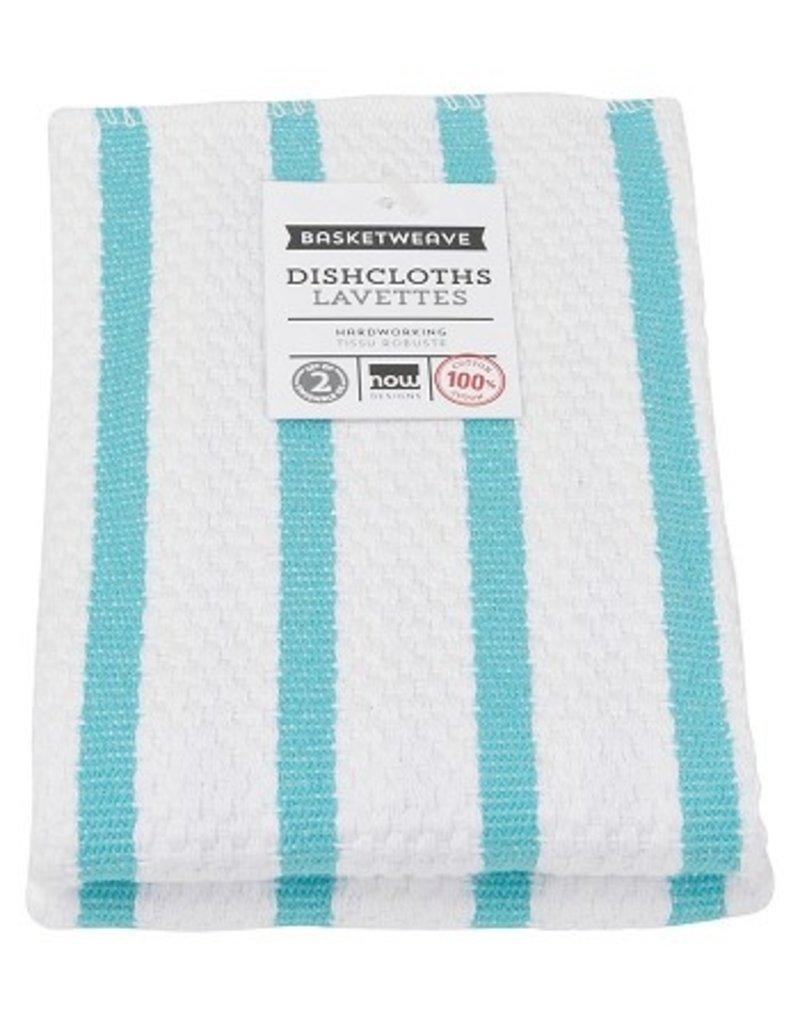 Now Designs Basketweave Kitchen Towel, Bali Blue cir