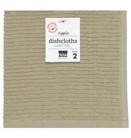 Now Designs Ripple Dish Cloth, Sandstone, Set of 2 cir
