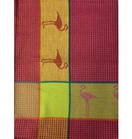 Primitive Artisan Flamingo Towel, Raspberry Waffle