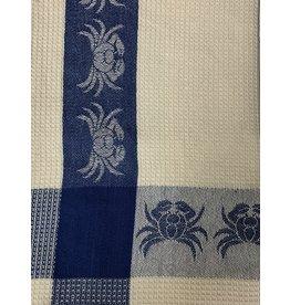 Primitive Artisan Crab Towel, Blue Waffle