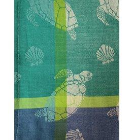 Primitive Artisan Sea Turtle Towel, White Jacquard