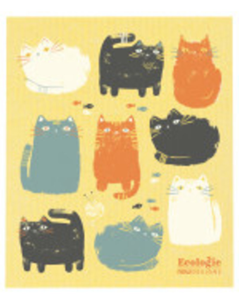 Now Designs Swedish Dish Purrfect Pals Cat, yellow now