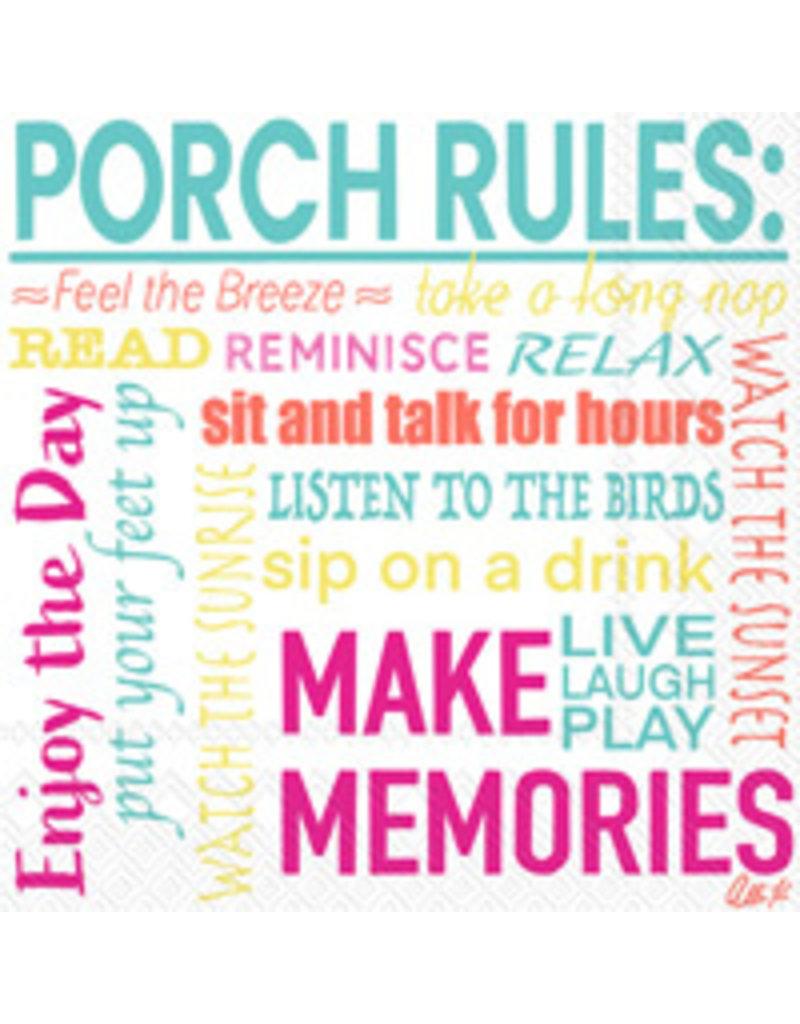 Boston International Cocktail Napkins, Porch Rules, 20x