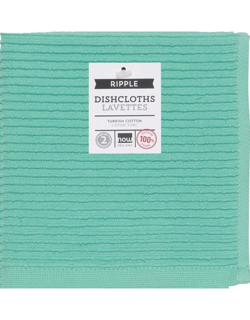 Now Designs Ripple Dish Cloth, Lucite Green, Set of 2 cir
