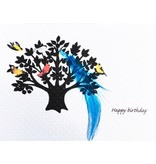 Greeting Card, Birthday, Blue Feather Family Tree