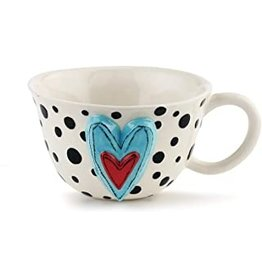 Demdaco Heartful Home Tea Cup, Black Dots