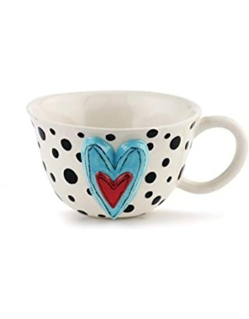 Demdaco Heartful Home Tea Cup, Black Dots