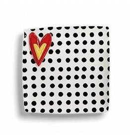 Demdaco Heartful Home Platter, Black Dots, 10.5""