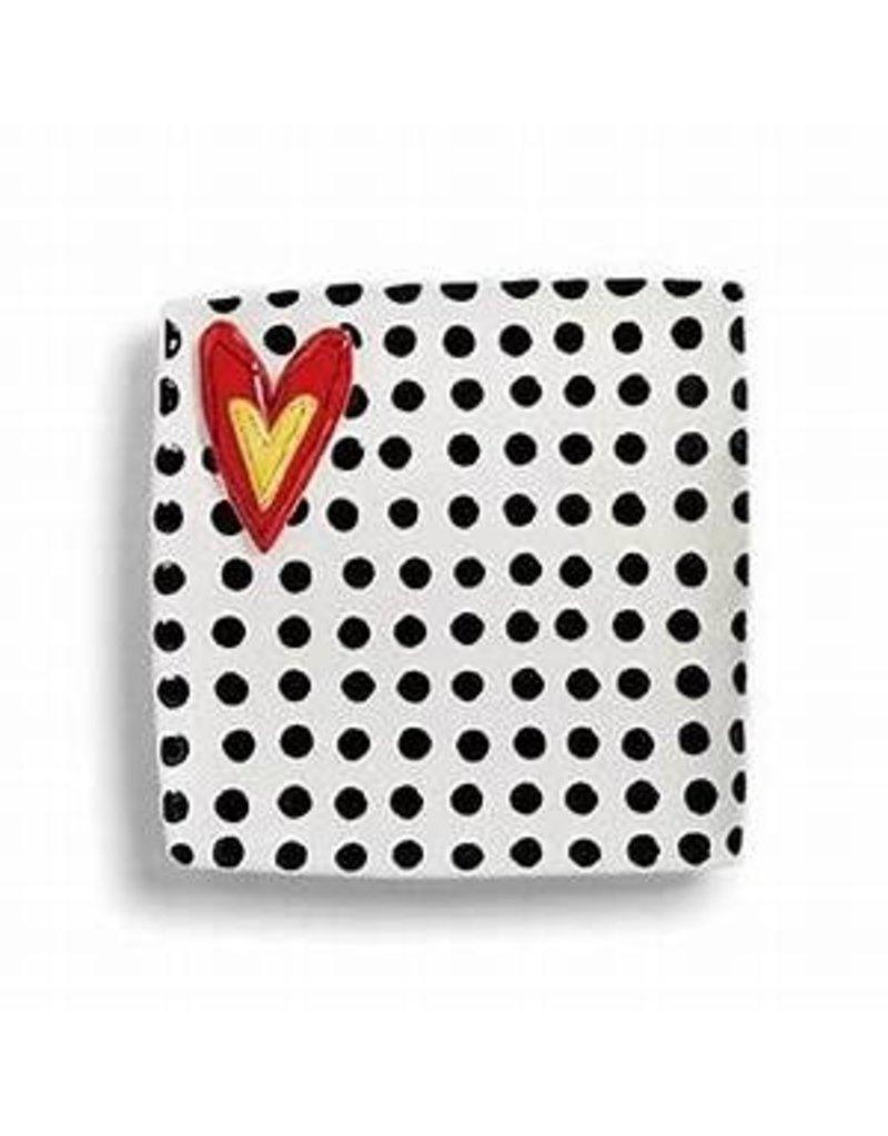 "Demdaco Heartful Home Platter, Black Dots, 10.5"""