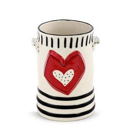 Demdaco Heartful Home Utensil Crock, Red Heart