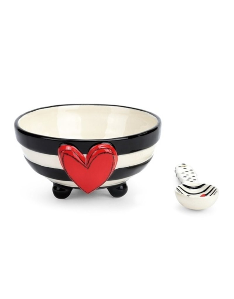 Demdaco Heartful Home Bowl and Spoon, Wide Black Stripe