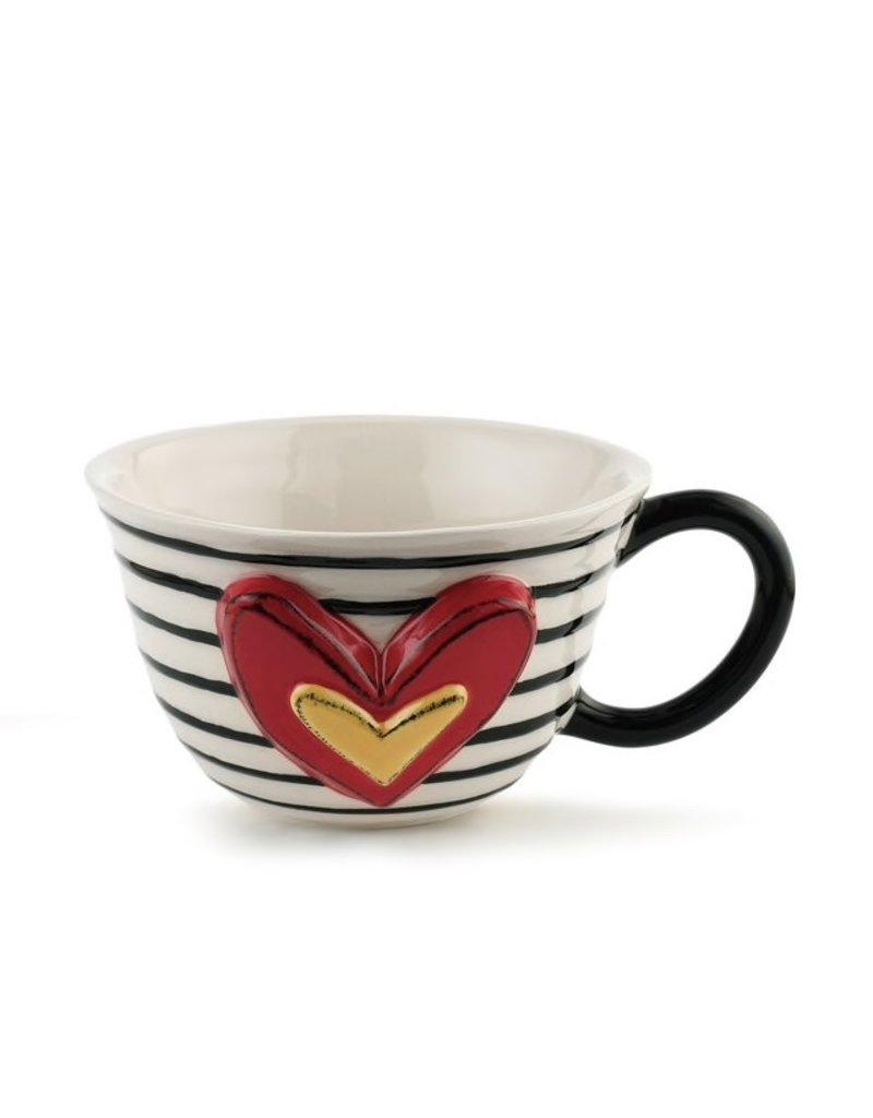 Demdaco Heartful Home Tea Cup, Narrow Black Stripe