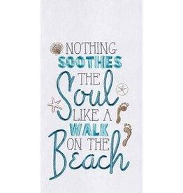 C and F Home Towel, Walk on the Beach, floursack