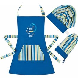 C and F Home Surf & Turf Apron Set-hat, mitt CHILD