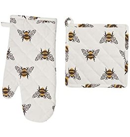 C and F Home Bumble Bee Pot Holder/Oven Mitt Set