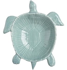 "Ceramic Sea Turtle Dish, 8"" aqua"