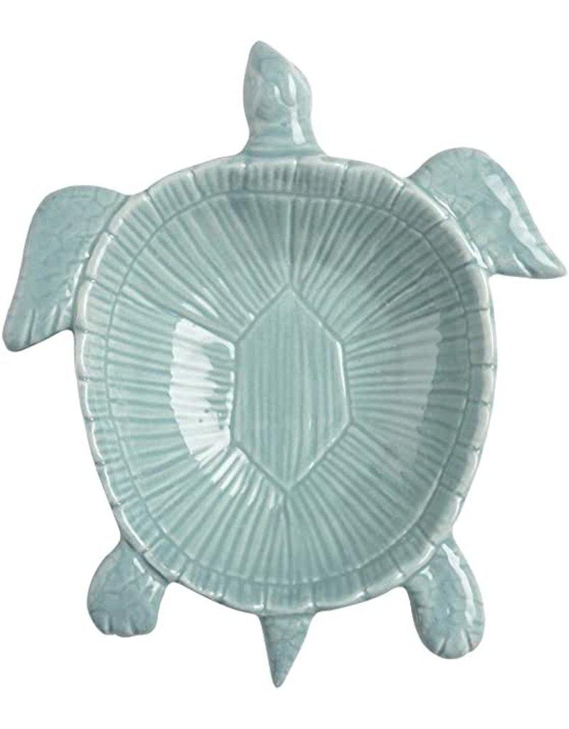 """Ceramic Sea Turtle Dish, 8"""" aqua"""