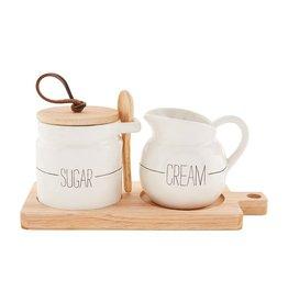 Mudpie Ceramic Sugar & Creamer Board Set