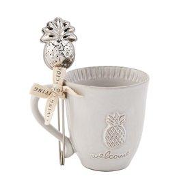 Mudpie Pineapple Welcome Tea Mug & Infuser Set, 12oz