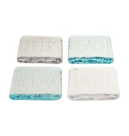 Mudpie Beach Glass Coasters, Engraved, Set of 4