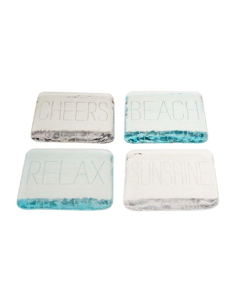 Mudpie Beach Glass Coasters, Engraved, Set of 4