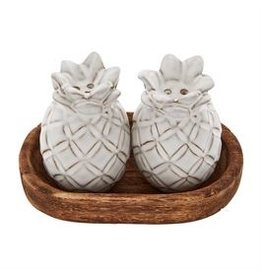 Mudpie Pineapple Salt & Pepper Set, With Wooden Tray