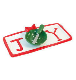 Boston International Holiday JOY Platter & Spreader