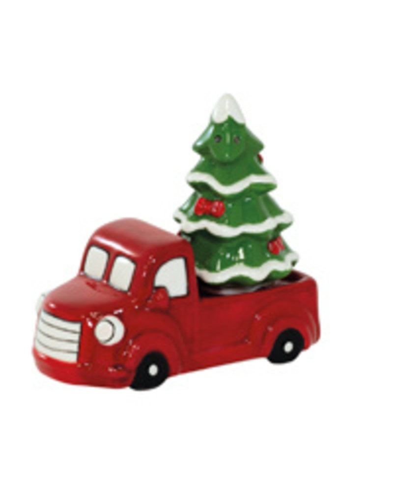 Boston International Holiday Red Truck & Xmas Tree Salt & Pepper Set
