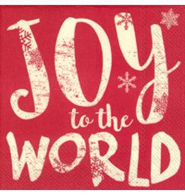 Boston International Holiday Cocktail Napkins, Joy to the World, 20x