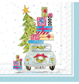 Boston International Holiday Cocktail Napkins, Noel Car, 20x