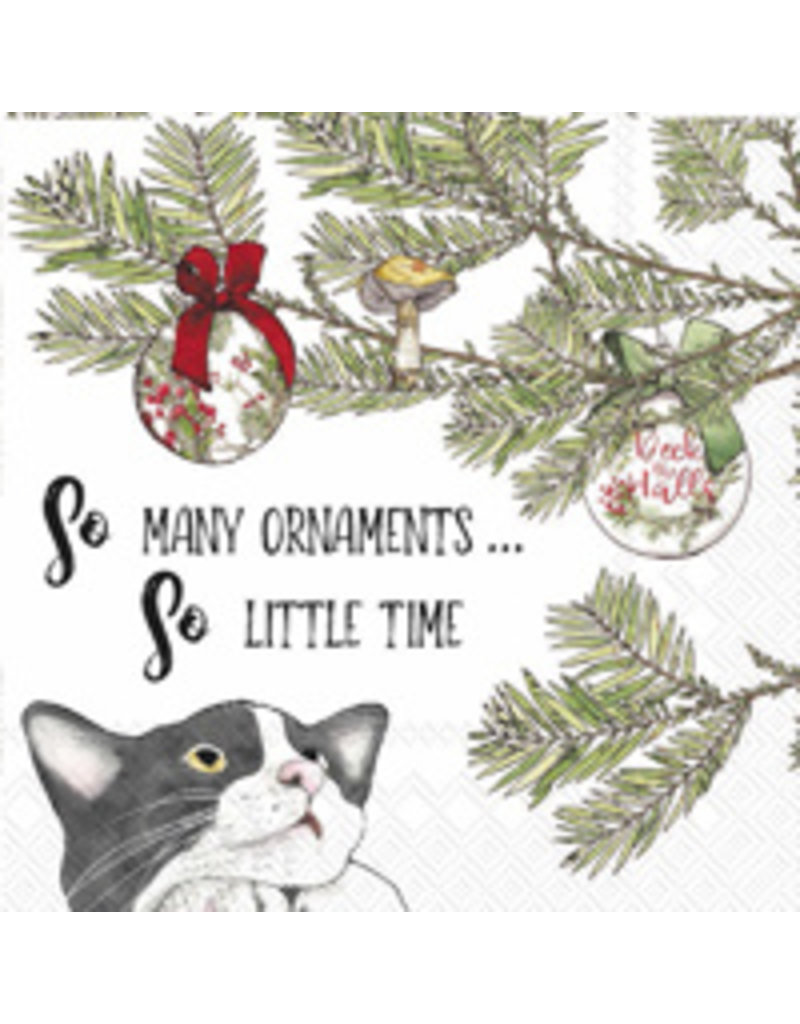 Boston International Holiday Cocktail Napkin, Cat So Many Ornaments
