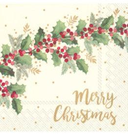 Boston International Holiday Cocktail Napkin, Merry Christmas Cream