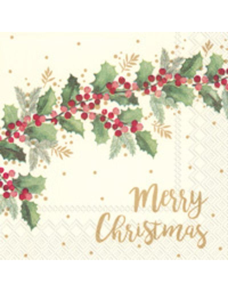 Boston International Holiday Cocktail Napkins, Merry Christmas Cream, 20x