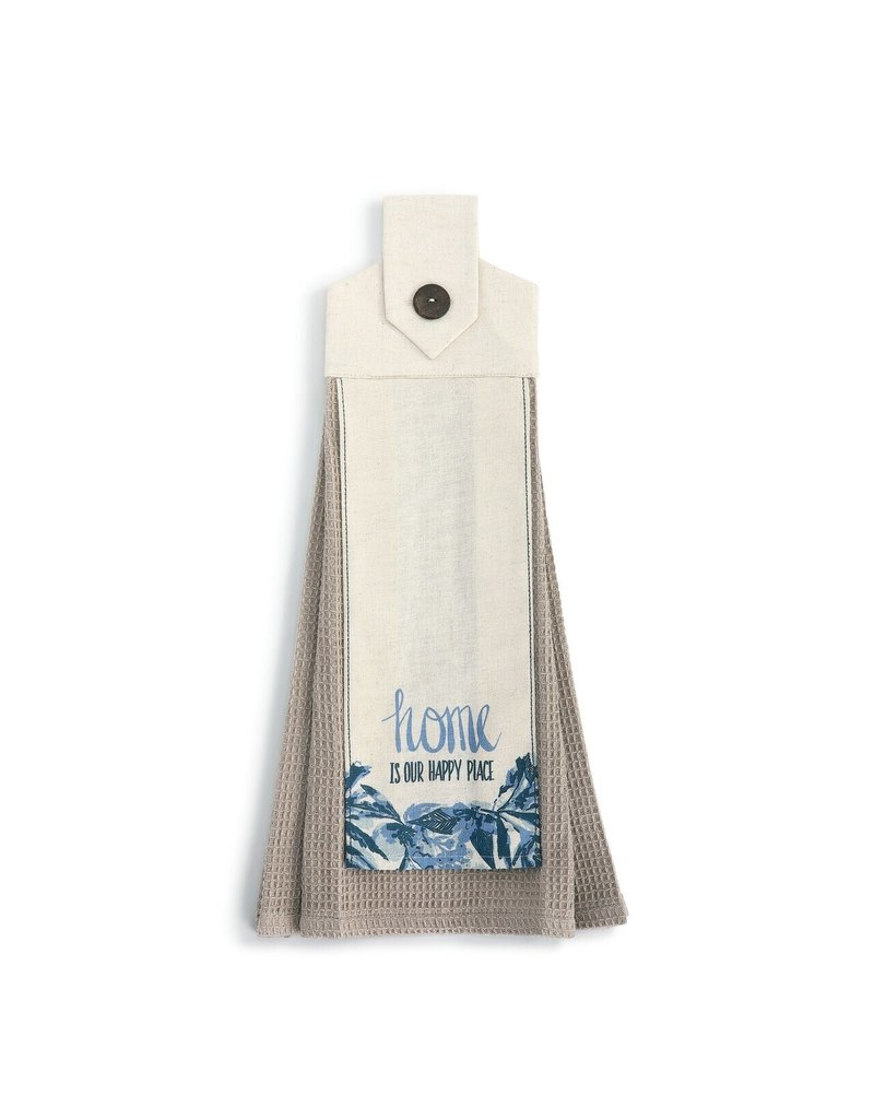 Demdaco Button Loop Towel, Home is Happy Place