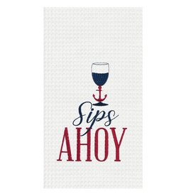 C and F Home Towel, Sips Ahoy, waffle weave disc