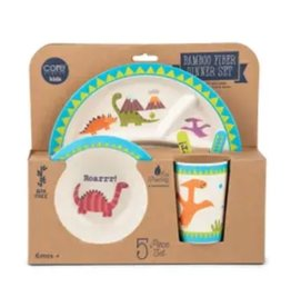 Core Home 5 Pc Bamboo Kids Dining Set - Dinosaur