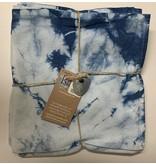 Hand-Dyed Indigo Napkin, Tie-Dye Blue Shibori-Set of 4