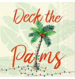 Boston International Holiday Cocktail Napkins, Deck the Palms, 20x