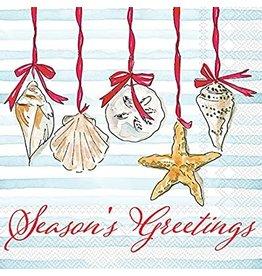 Boston International Holiday Cocktail Napkin, Season's Greetings Shells