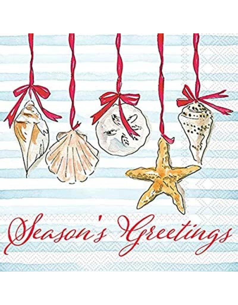 Boston International Holiday Cocktail Napkins, Season's Greetings Shells, 20x