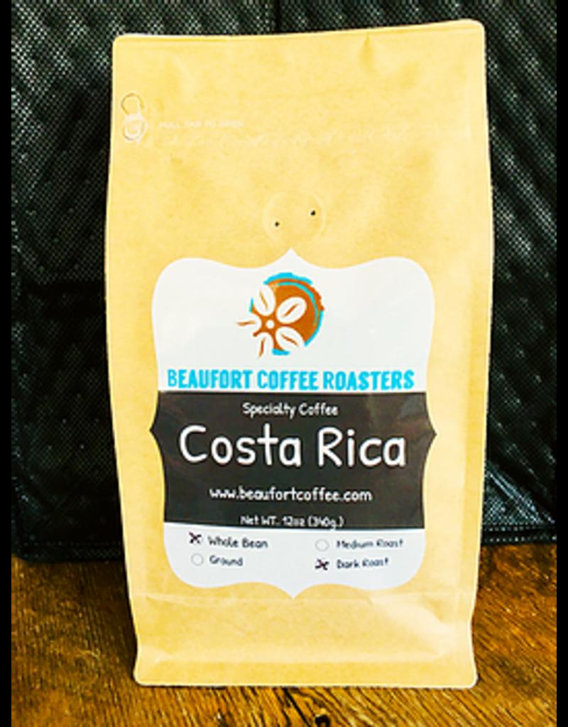 Beaufort Coffee Costa Rica, Dark Roast, Whole Bean 12oz disc