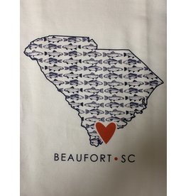 Coast & Cotton Dish towel Hometown Heart FISH  with ''Beaufort SC''