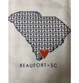 Coast & Cotton Dish towel Hometown Heart ANCHORS  with ''Beaufort SC''