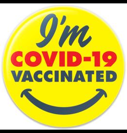 Pure Button I'm COVID-19 Vaccinated Smiley Button