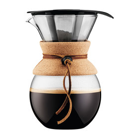 Pour Over Glass Coffee Maker with Permanent Filter and Cork, Glass, 34oz