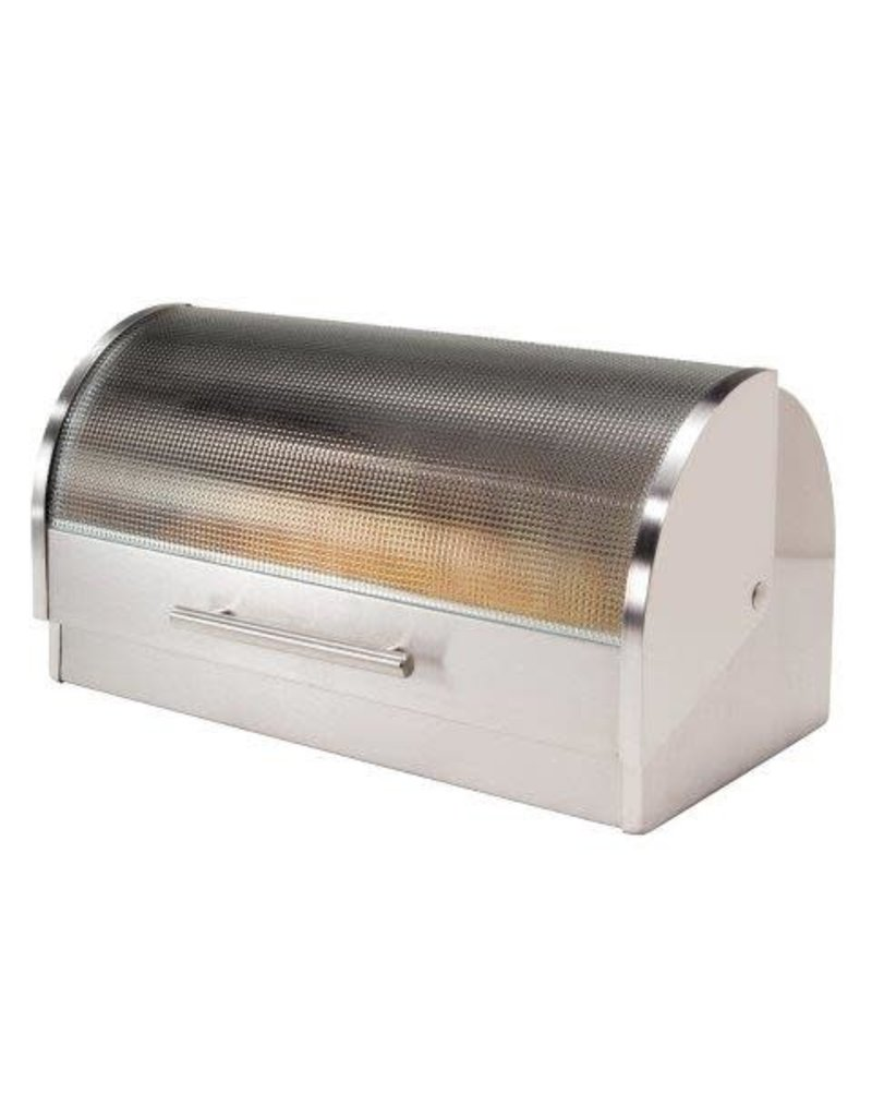 Oggi Stainless Bread Box with Tempered Lid