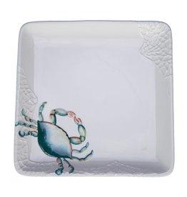 """Beachcombers Blue Crab Square Platter, 9"""""""